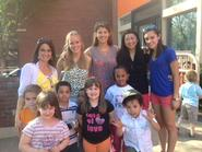 Some members of the field hockey team volunteered with the toddler class at the Neighborhood Center in Utica.