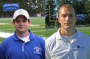 Assistant football coaches Jeff Friedman '05 (left) and Matt Wright