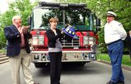 L-R: Clinton Mayor Gill Goering, President Joan Stewart and Clinton Fire Chief Mark Young