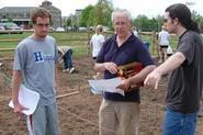 L-R: Austin Deyo '08, Frank Sciacca , Brendan O'Malley '08 in the Heritage Garden