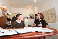 Ginny Dosch talks with Connor Brown '12, who was the recipient of a Barry M. Goldwater Scholarship in 2011.