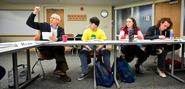 Professor Dan Chambliss encourages comment in the Great Books seminar as Joe Simonson '15 Morgan Lane '16, and Mark Parker-Magyar '15 look on.