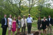 President Joan Hinde Stewart, Dean of Faculty Joe Urgo with representatives of the Class of 2009.