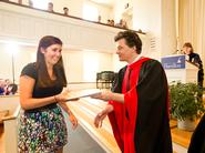 Dean of Faculty Pat Reynolds presents the Fillius/Drown Prize to Hannah Schacter '12.