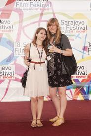 Jasmina Hodzic '13, left, with Katharina Kloss, the editor of Cafe Babel.