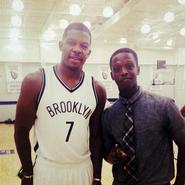 Jeremy Mathurin '16 with Joe Johnson of the Brooklyn Nets.