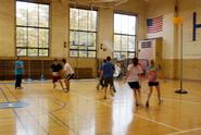 Students took to the court to try Korfball.