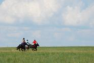 Riders race across the grasslands at a cultural center in Inner Mongolia.