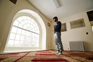 Shakil Hossain '14 prays in the new Muslim prayer room on the 2nd floor of the Chapel at Hamilton College.