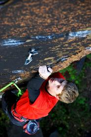 James Otey '11 on his rock climb in Little Falls.
