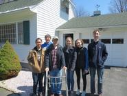 Ryan Ong, Brian Sobotko, Clinton homeowner Francis Kervin, Zoe Lynch, Suzanne Jacobson and Kevin Welsh.