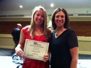 Lauren Sokol '12 (left) and head women's lacrosse coach Patty Kloidt.