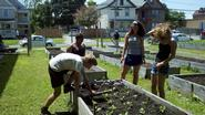 Gabe Burford, Lilian Kiraka, Margaret Hylas and Ali Crivellli work in a Utica garden.