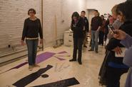 Students visit Polly Apfelbaum's studio. Photo by Greg Huffaker '09.
