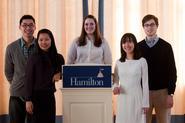 From left, Yan Kit Pang '10, Xiaohan Du '12, Amanda Bowman '10, Trang Nguyen '13, Ian Doran '11.