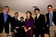 The 2012 winners, from left: Daniel Savage '12, Chip Sinton '13, Max Schnidman '14, Sandy Rao '15, Leonard Teng '12, Ephraim McDowell '12.