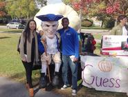 Lisa Yang '17 and Arthur Williams '16 with Alex and the pumpkin
