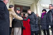 Hamilton president Joan Hinde Stewart, fourth from right, with Rust to Green donors and colleagues.