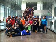Hamilton students with students from NYSSD at Wellin Museum