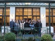 President Joan Hinde Stewart and Philip Stewart with students at Reid Hall in Paris.