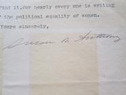 Susan B. Anthony's signature on a letter found in Hamilton's Archives