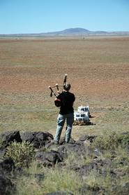 Tewksbury piping Rover B up the slope toward base camp at the end of the field test.
