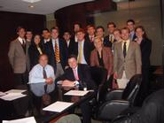 Program in Washington students with George Baker '74 and Frank Vlossak '89.