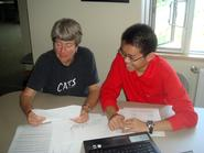 Yinghan Ding '12 (right) with his advisor Margaret Morgan-Davie.