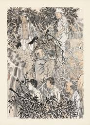 Yun-Fei Ji. The Loggers, 2015. Ink and watercolor on Xuan paper mounted on silk, 42 5/8 x 30 11/16 in. (108.2 x 78 cm). Courtesy of the artist and Zeno X Galler