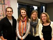 Alicja Zak '15 with sponsor Kimberley Babcock-Smith '90 (far right), and fellow Hamilton alumni Graham Bahler '02 and Rebekah Gibson '12 at Starcom MediaVest.