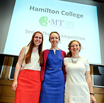 Winners of the Three Minute Thesis 2015 from left first runner-up Sabrina Yurkofsky '15, second runner-up M.E. Ficarra '15 and champion Lisbeth DaBramo '15.