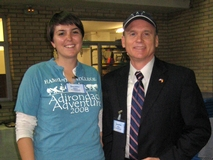 Thea Spittle '12 and Tom Genton '80 representing Hamilton at a college fair in Madrid, Spain