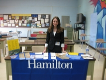 Julia Pollan '10 representing Hamilton at the LaGuardia High School College Fair