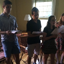 Students sing during our student-led weekly Shabbat service.