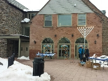 Celebrating Hanukkah with a giant menorah.