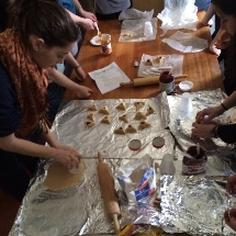 Students baking Hamentashen during Purim.