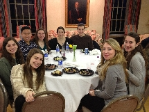 Students enjoy a special high holidays dinner.