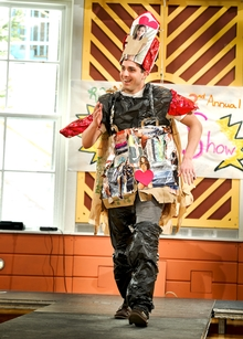 Will Boudreau &apos;14 models during the Recycling Task Force&apos;s 2nd Annual Trashion Show.<br />Photo: Nancy Ford