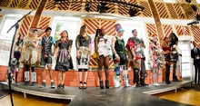 Models line up for the judging of the Recycling Task Force&apos;s 2nd Annual Trashion Show.<br />Photo: Nancy Ford