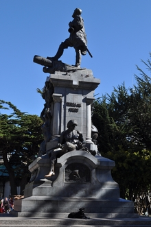 The statue of Ferdinand Magellan which stands in the central square of Punta Arenas. It is good luck to rub the toe of one of the indigenous men at the base of the statue for a safe (sickness-free) voyage across the Drake Passage.
