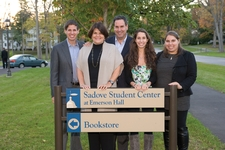 The Sadove family gathers on Oct. 8 during Fallcoming Weekend for the dedication of the expanded and renovated Sadove Student Center at Emerson Hall.