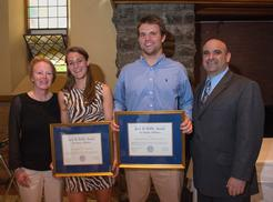 L to R: Women's soccer coach Colette Gilligan, Alex Rimmer '13, Mike MacDonald '13, football coach Andrew Cohen.