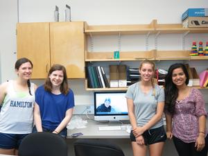 Sarah Mandel '15, Carrie Cabush '15, (Alex Cates '15 pictured on monitor), Summer Bottini '14, Mahima Karki '14