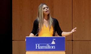 Laverne Cox speaks in Wellin Hall.