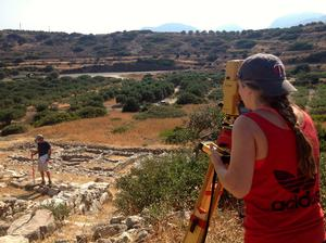 Mackenzie Leavenworth '15, right, on site in Gournia, Greece, during a 2013 Emerson research expedition with Professor John McEnroe.