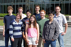 Front: Hannah Ferris, Esther Cleary, Yingbin Mei; middle: Ben Wesley, Alex Kaplan and Professor Max Majireck; back: Ben Schafer, Chris Williams and John Bennett.