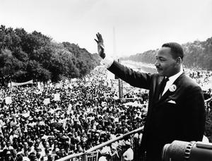 Martin Luther King Jr. gives the