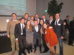 From left, top row: Scott Hancox, Dumitru Kaigorodov, Keara Fenzel, Neil Edwards, Alex Hollister, Jack Boyle, Professor Calin Trenkov-Wermuth; bottom row: Daniel O'Kelly, Hristina Mangelova, Justin Long, Nejla Asimovic, and Alice Henry.