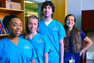 Cameron Davis, Amy Wright '15, Joseph Posner and Dr. Argye Hillis, stroke expert and head of the lab.