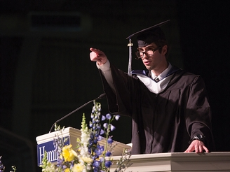 Valedictorian Jeremy Adelman '13 makes a point to his classmates during his commencement remarks.